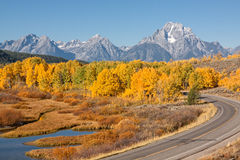Highway Through Teton National Park in Autumn Royalty Free Stock Images