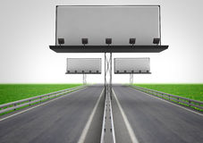 Highway with three billboard construction Royalty Free Stock Photos