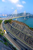 Highway and Ting Kau bridge Royalty Free Stock Photos