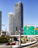 Highway to the airport in downtown Miami Royalty Free Stock Image