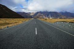 Highway to aoraki mt.cook national park south island, new zealan Stock Photos
