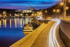 Highway to big city at night. Castle. Prague. Highway to big city at night. Castle. Central Europe. Prague Royalty Free Stock Images