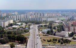 Highway to blocks of flats. At Petrzalka - Bratislava, Slovakia royalty free stock photo