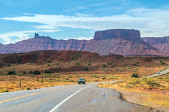 On a highway to the Capitol Reef National Park, Utah, USA. Stock Images