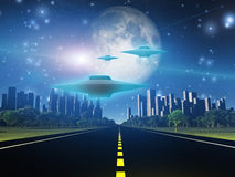 Highway to city with alien ships Stock Images