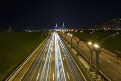 Highway to the city in a night view. From the top Royalty Free Stock Images