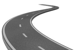 Highway to a destination. Curved highway road representing the concept of a planned strategic journey to a goal related destination represented by a single paved Stock Image