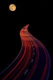 Highway to heaven. Traffic lights in motion blur vector illustration