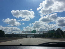 Highway to heaven. Beautiful blue sky Royalty Free Stock Images