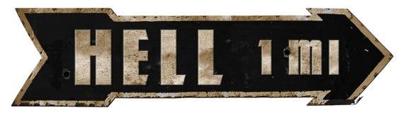 Highway to Hell Road Sign Metal Grunge Arrow. Black Sabbath Devil Town vintage bullet holes stock images