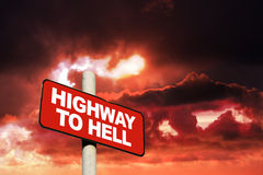 Highway to hell sign Royalty Free Stock Photo