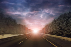 Highway in to the horizon Royalty Free Stock Photography