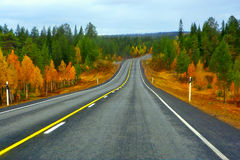 Highway to Lapland. Highway to Lapland in northern part of Finland royalty free stock images