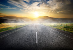 Highway to mountains Royalty Free Stock Photo