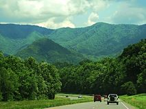 Highway to mountains. Highway going through the Smokey Mountains in North Carolina Royalty Free Stock Images