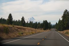 Highway to Mt. Hood, Oregon. On the highway in Oregon, driving toward Mount Hood stock photography