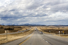 Highway to Rocky Mountains Stock Photo