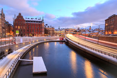 Highway to Stockholm Cityscape Royalty Free Stock Photography
