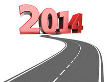 Highway to 2014 year. Abstract 3d illustration of asphalt road to text 2014, new year concept vector illustration