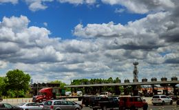 Highway toll booth U.S. Height view Stock Photography