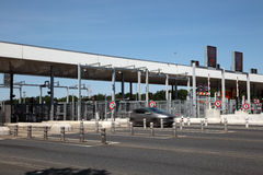 Highway toll gate in France Royalty Free Stock Photo