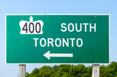 Highway 400 and Toronto Sign Royalty Free Stock Image