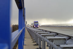 Highway traffic. (trucks blurred in the background Stock Images