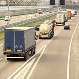 Highway Traffic. A busy highway full of cars and trucks. Square composition Stock Photography