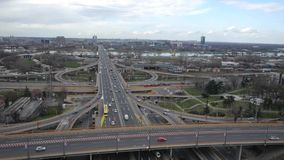 Highway traffic aerial stock video footage