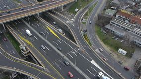 Highway traffic aerial stock footage