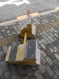 Highway traffic barrier. Cement pier. Pour on the ground of cement pier fence stock photos