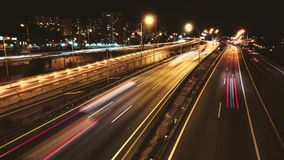 Highway Traffic Cars Driving Time Lapse at Multiple Lane Speedway stock video footage