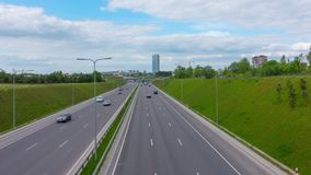 Highway traffic in the city, hyper time-lapse. Vilnius, Lithuania stock video