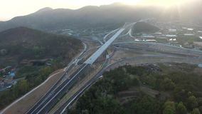 Highway Traffic of Daegam JC in Gimhae, South Korea, Asia. When Apr-18-2018 stock footage