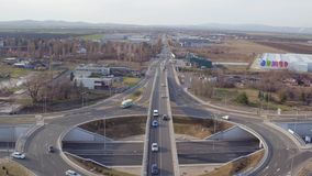 Highway traffic from drone view, interstate bridges crossing at large freeway junction, aerial view stock video