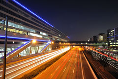 Highway traffic. Frankfurt airport railway station royalty free stock photography