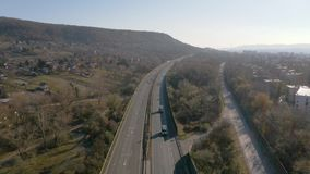 Highway with traffic. Highway with trucks and cars passing by aerial drone footage, M1, Hungary stock video