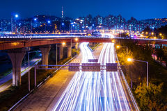 Highway with traffic light in Seoul Stock Photo