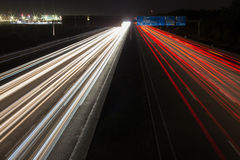 Highway traffic lights at night. Some highway traffic lights at night Stock Images