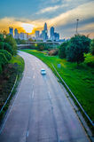 Highway traffic near a big city Royalty Free Stock Photography