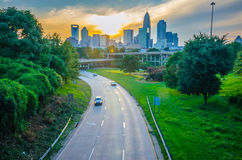 Highway traffic near a big city Royalty Free Stock Images