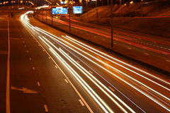 Highway traffic at night. Night traffic at a busy highway. Brussels, Belgium. Long exposure photo Royalty Free Stock Images