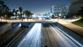 Highway traffic night light trails stock video