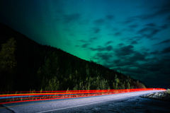 Highway Traffic Northern Lights Aurora Borealis Alaska Night Sky Royalty Free Stock Image