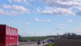 Highway traffic real time. Cars and Trucks  UHD 2160 4K stock footage