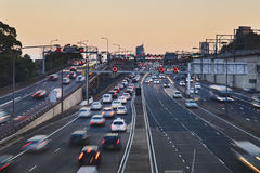 Highway traffic short blur set. Big city highway motor road with heavy traffic of cars and vehicles at sunset blurred lights Stock Photos