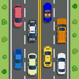 Highway traffic with top view cars. And trucks on asphalt road. trees and shrub top view. Vector illustration in flat design Royalty Free Stock Images