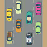 Highway traffic with top view cars and trucks street vector. Traffic with police car and taxi, illustration view to traffic road with transport stock illustration