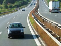 Highway transport. Vehicle on highway. Driving on highway. Traveling highway car stock photo