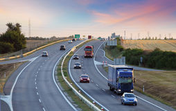 Highway transportation with cars and Truck Royalty Free Stock Image